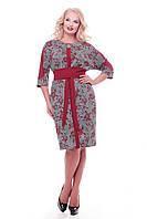 Красивое платье с поясом Кэтлин бордо розы