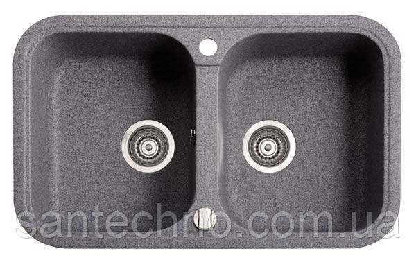 Мойка кухонная гранитная на две чаши Argo Gemelli Dark Grey 770*470*190