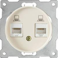 ЭЛЕКТРИКА OneKeyElectro Розетка двойная компьютерная RJ45 кат.5e Бежевая (1Е20901301)