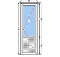 Металлопластиковая  дверь 700*2100 белый цвет