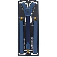 Подтяжки кожаные темно-синие на винтажных застежках с стандартной серединкой Bow Tie House™