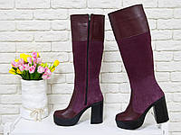 Высокие сапоги из натуральной  кожи и замши бордового цвета на молнии  на устойчивом каблуке