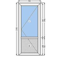 Металлопластиковая дверь входная 900*2100 белая замок рейка