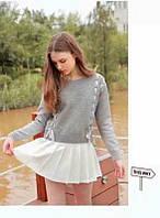 Женский  стильный  свитер цвет серый с лентами