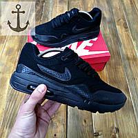 Осенне-весенние молодежные кроссовки Nike Air Max 87 Black черного цвета