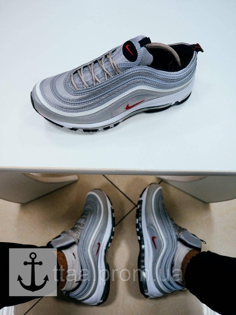 ... Классные мужские кроссовки Nike Air Max 97 Gray серого цвета, ... 580bbcba766
