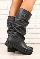 Зимние женские сапоги, черные, кожаные, без каблука, без замка