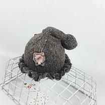 Шапочка с рюшами и пампоном, фото 2