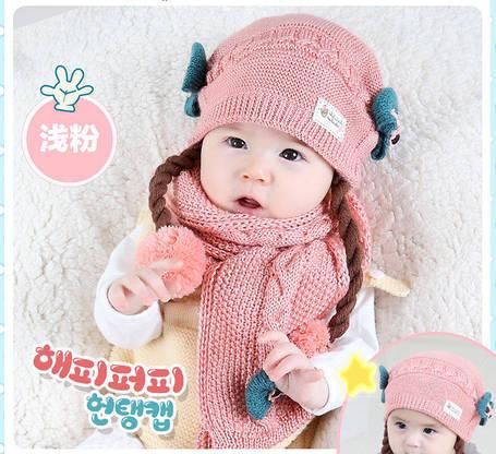 Комплект шапка с бантиками,косичками  и шарф, фото 2