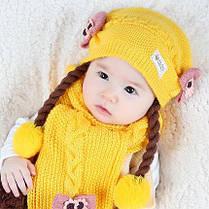 Комплект шапка с бантиками,косичками  и шарф, фото 3