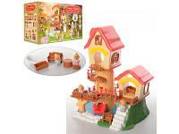 Детский двухэтажный домик с мебелью