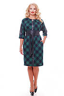 Стильное платье больших размеров Кэтлин зеленое клетка