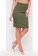 Стильная юбка карандаш оливкового цвета