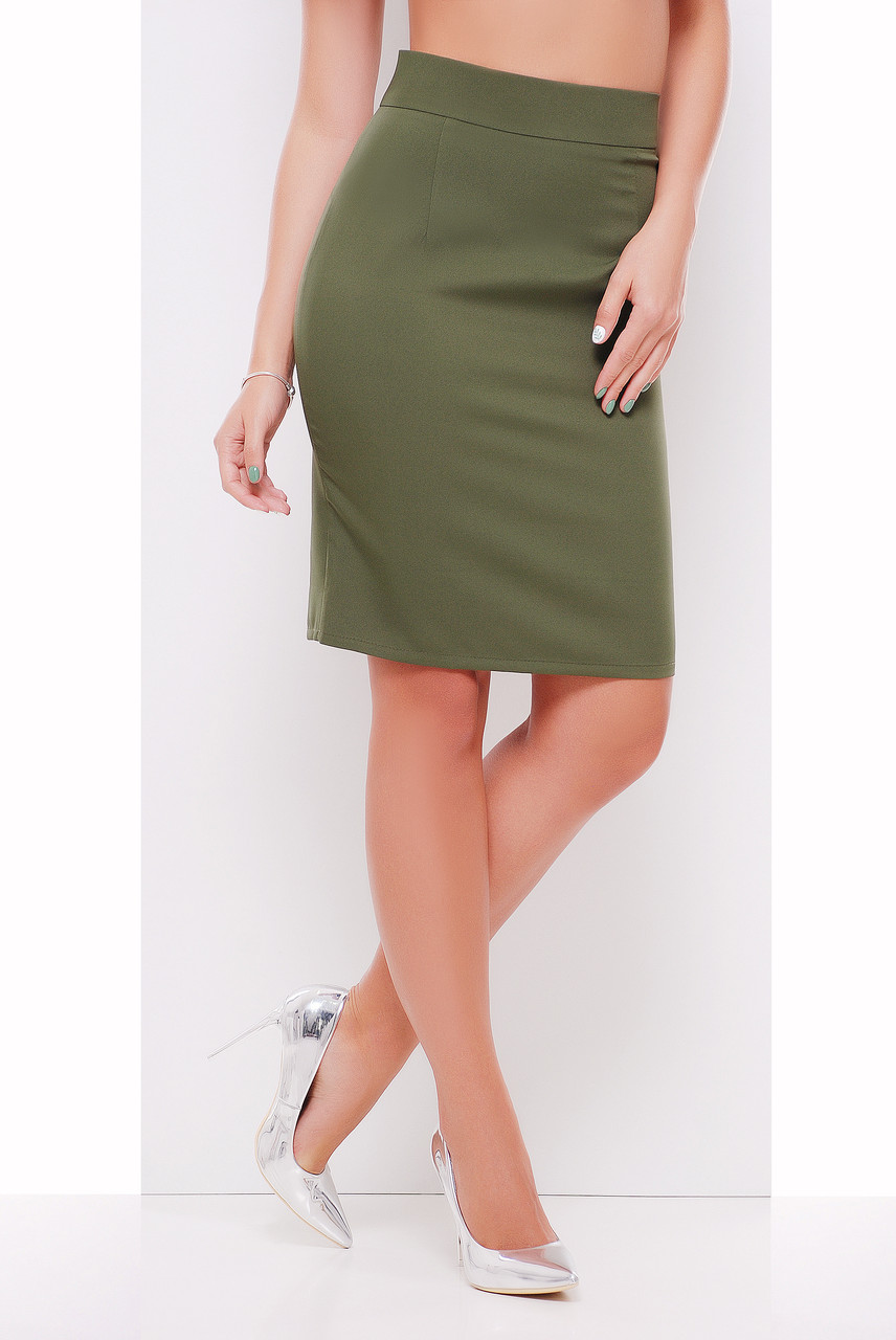 d41d8a0d217 Стильная юбка карандаш оливкового цвета  продажа