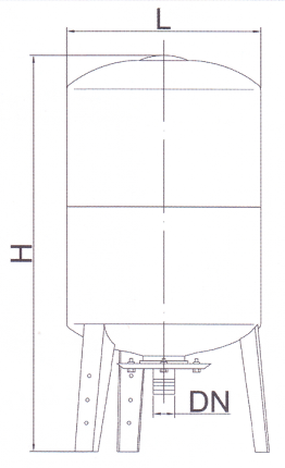 габаритные размеры гидроаккумулятора Euroaqua V200L