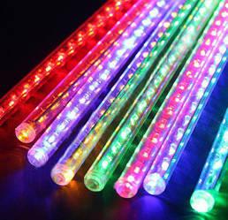 """LED гирлянда """"Тающие сосульки"""", """"Метеоритный дождь"""" 8 сосулек по 30 см, цветная"""