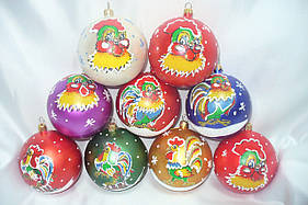 """Новогодние шары """"Петух"""" 8 см 10 шт/уп"""