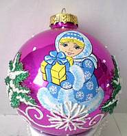 "Елочная игрушка шар ""Снегурочка"" 85 мм, стекло"
