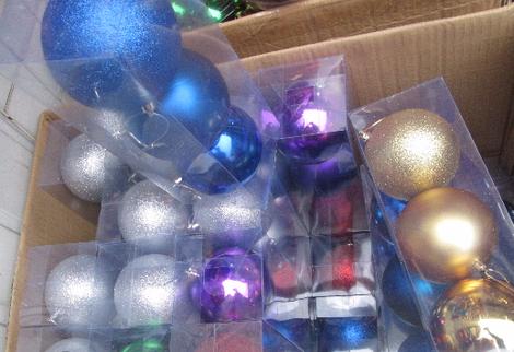 Новогодний шабор шаров, однотонный, 3 шара по 10 см, 6 цветов