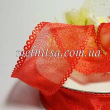 Стрічка з органзи з ажурним краєм, 2,5 см, колір червоний