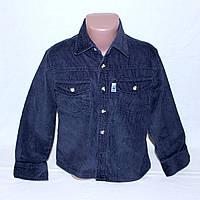 Вельветовая темно-синяя детская рубашка р.128 на 8 лет