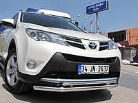 Защита переднего бампера (двойной ус) Toyota  Rav-4 2013-2015