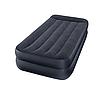 Надувная флокированная кровать Intex 66706 с подголовником, черная, со встроенным насосом 220V, 191 х 99 х 42 см