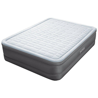 Односпальная надувная флокированная кровать Intex 64474, серая, со встроенным насосом 220V, 203 х 152 х 46 см