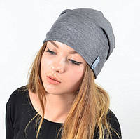 Серая меланжевая шапка-чулок