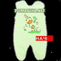 Ползунки высокие с застежкой на плечах р. 62 с начесом ткань ФУТЕР 100% хлопок ТМ Алекс 3167 Зеленый Б