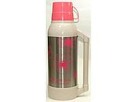 Термос со стеклянной колбой 2л T43-2, розовый термос, пластиковый термос для напитков, стильный термос