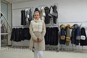 Новинка!! Шикарное  пальто с норкой шерсть альпаки
