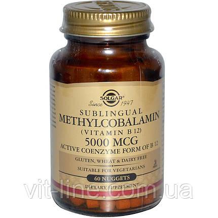 Solgar, Сублингвальный метилкобаламин (витамин B12), 5000 мкг, 60 капсул, фото 2