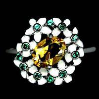 Цитрин, эмаль, серебро 925, кольцо, 637КЦ