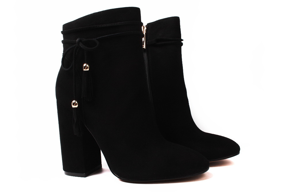 0c29dbf65 Ботинки женские Basconi натуральный замш, цвет черный (ботильоны, каблук,  весна-осень