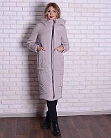 Зимняя длинная куртка - пуховик с капюшоном, 44-56р, беж