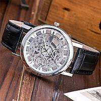 Кварцевые мужские часы скелетоны Visec Silver Black stripe