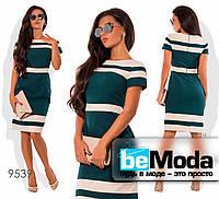 Элегантное женское платье с горизонтальными полосками зеленое