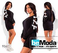 Молодежное женское платье в спортивном стиле с бантами на рукавах черное