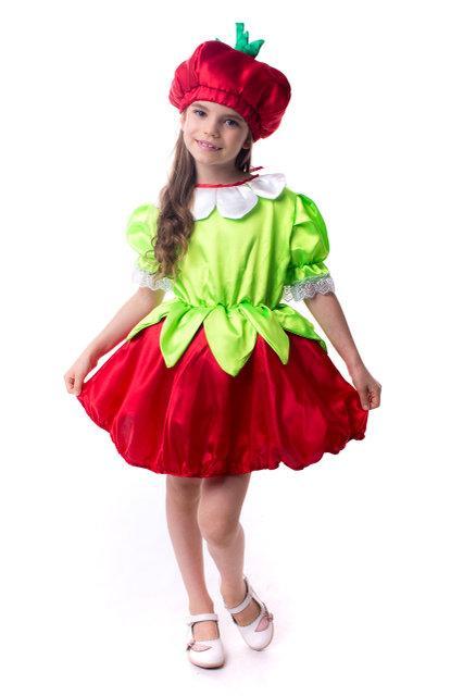 Карнавальный костюм Клубничка для девочки на праздник