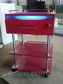 Тележка с УФ лампой и розетками, цвет красный V168