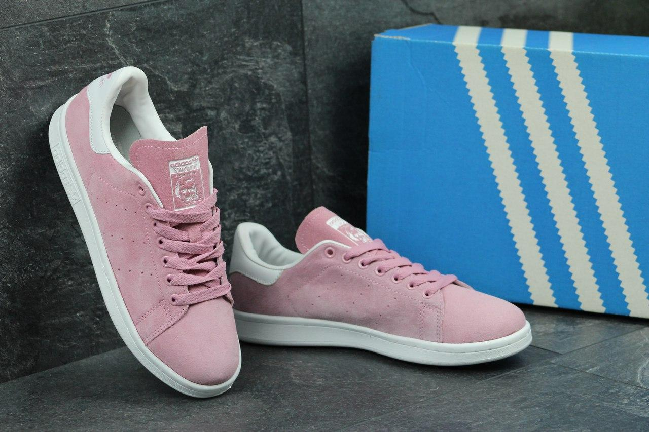 ... Жіночі замшеві кросівки Adidas Stan Smith- рожеві 0df05c6f44b02