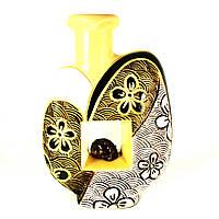 Ваза керамическая авторский дизайн ручная роспись Сердце бежевая 33см 9866