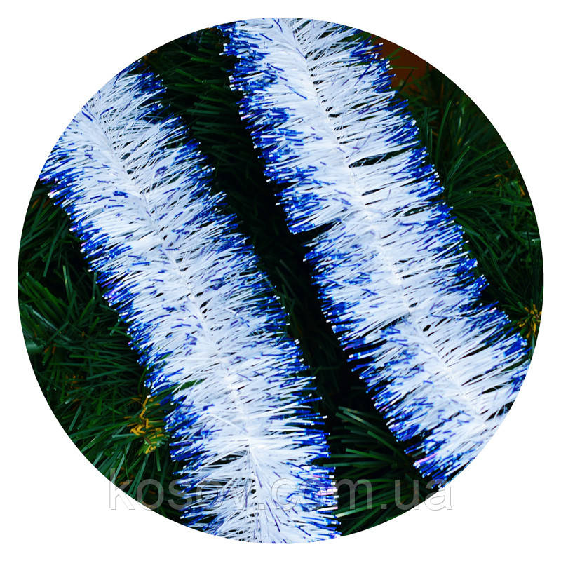 Дождик (мишура) 7см Польша  (молочный, голубые края)