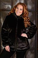 Шуба женская из искусственного меха под норку с капюшоном в больших размерах 50-56