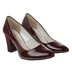 Туфли женские ZanZara (классический дизайн, бордовые, удобный каблук)