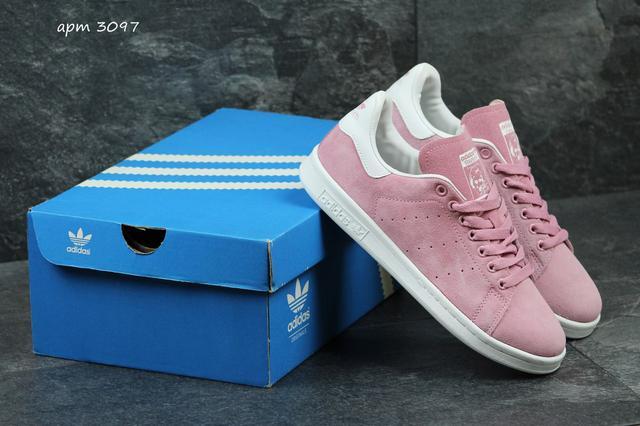 Жіночі замшеві кросівки Adidas Stan Smith- рожеві d7c3c3fcadfe6