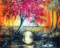 Картина по номерам Лиловое дерево у моста 9567