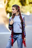 женский свитшот на флисе принт  хакки