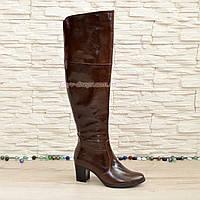 Ботфорты зимние кожаные на устойчивом каблуке, цвет коричневый.